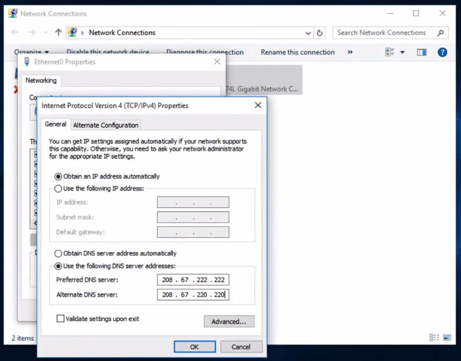 Windows 10 dns configuration for Preferred windows